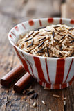 Bowl of brown and wild rice Stock Images