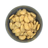 Bowl of butter beans on white background Royalty Free Stock Images