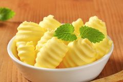 Bowl of butter curls Stock Images
