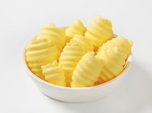 Bowl of butter curls Stock Photos