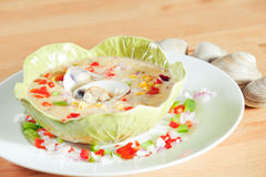 Bowl of California Style clam chowder Stock Photos