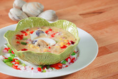 Bowl of California Style clam chowder Stock Images