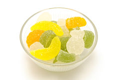 Bowl of candies. Bowl of colorful jelly candies isolated on white background Stock Photos