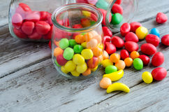 Bowl on candies.Colorful sweets on table Stock Photo