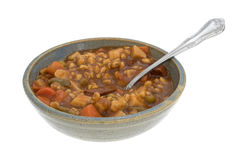 Bowl of canned beef stew with a spoon Royalty Free Stock Photography