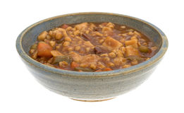 Bowl of canned beef stew on a white background Stock Images