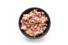 Bowl of canned tuna isolated on white, from above. Bowl of canned tuna isolated on white background, top view Stock Images