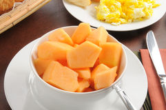 Bowl of cantaloupe Stock Photos