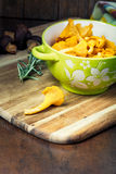 Bowl with cantharellus. Yellow chanterelle Royalty Free Stock Photos