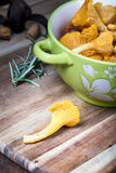 Bowl with cantharellus. Yellow chanterelle Royalty Free Stock Image