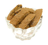 Bowl of cantuccini on a white background Royalty Free Stock Photos
