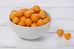 Bowl of Cape Gooseberries royalty free stock photography