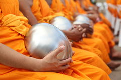 Bowl carried by Monks. In the morning Royalty Free Stock Images