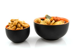 Bowl with cashew nuts and japanese snack Royalty Free Stock Photography