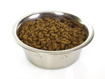 Bowl with cat food. Isolated on white background Royalty Free Stock Photos