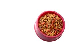 Bowl of cat food. From above on white background Stock Photos