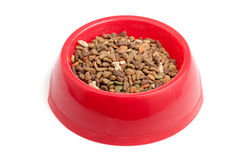 Bowl of cat food. Isolated on white Royalty Free Stock Photo