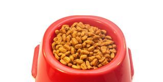 Bowl with cat food on white background. Bowl with cat food isolated on white background stock photos