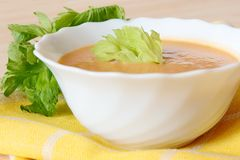 Bowl of celery soup Stock Images