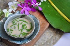 Bowl of Cendol Traditional Dessert. Decorated with orchid and banana leaf on background with space for text stock images