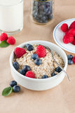 Bowl of cereal. Bowl full of cereal and berries with milk and bilberries on background Stock Photos