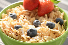 Bowl of Cereal. With Blueberries and Strawberries Stock Photo