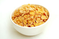 Bowl of cereal. Sugary cereal in a white bowl royalty free stock image