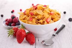 Bowl of cereal and fruits Stock Photo