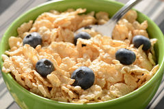 Bowl of Cereal with Blueberries Royalty Free Stock Photos