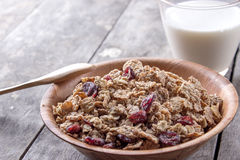 A bowl of cereal with cranberries Royalty Free Stock Photo