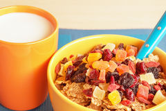 Bowl of cereal with dried fruits Royalty Free Stock Photo