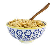 Bowl of Cereal. Floral cereal bowl filled with sugared corn puffs royalty free stock images