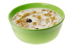 Bowl of cereal with milk Royalty Free Stock Photos