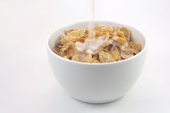 Bowl of cereal with milk. On white background Stock Photo
