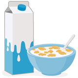 Bowl of cereal and milk carton. Stock Photo