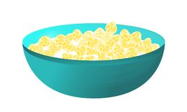 A bowl of cereal and milk isolated on white background. Corn fla Royalty Free Stock Photography