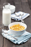 Bowl of Cereal With Milk on Rustic Table Royalty Free Stock Photo