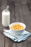 Bowl of Cereal With Milk on Rustic Table Stock Photos