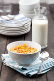 Bowl of Cereal With Milk on Rustic Table Royalty Free Stock Images