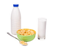 Bowl of cereal with milk. Stock Photo