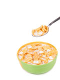 Bowl of cereal with milk. Stock Photos