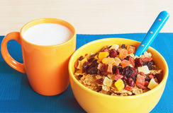 Bowl of cereal  and a mug of milk Stock Photo