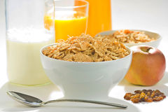 Bowl of cereal with raisins Royalty Free Stock Image