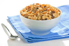 Bowl of cereal with raisins Stock Images