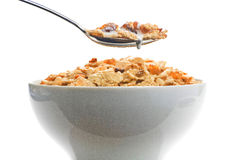 Bowl of cereal with raisins and milk Stock Photo