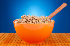 Bowl of cereal and spoon Stock Images