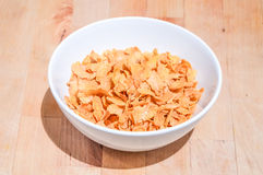 Bowl of cereal on a wooden table background Stock Photo