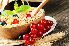 Bowl with cereals and fresh berries Stock Image