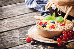 Bowl with cereals and fresh berries Royalty Free Stock Photos