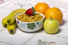 Bowl of cereals with fruit Royalty Free Stock Photo